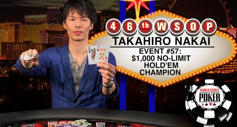 Takahiro Nakai Wins 2015 World Series of Poker $1000 No-Limit Hold'em